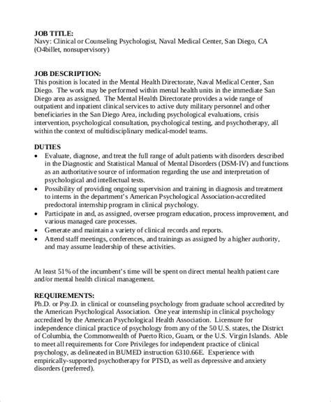 Salary data and job description. FREE 7+ Sample Psychologist Job Descriptions in PDF