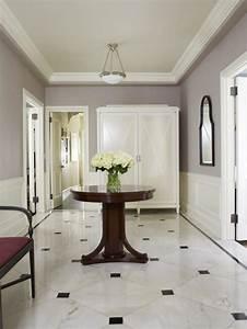 Fascinating, White, Marble, Foyer, Flooring, Design, Ideas, Foyer
