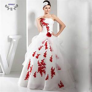 adorable ball gown white and red wedding dress 2017 With red strapless wedding dresses