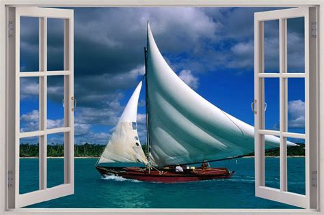 3d Window Ocean View Blue Sea Home Decor Wall Sticker: 3D Window View Sail Boat Ocean Wall Sticker Film Mural Art