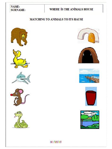 where animals live worksheets for kindergarten crafts actvities and worksheets for preschool toddler and