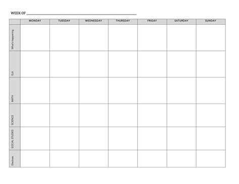 Printable Weekly Homework Charts