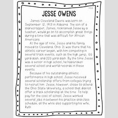 Jesse Owens Reading Passage And Comprehension Questions