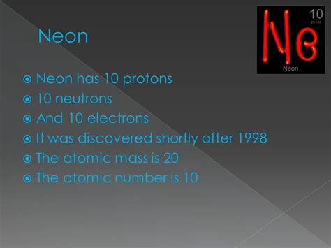 Neon Number Of Protons by By Dillon C Symbol 20 Atomic Ppt