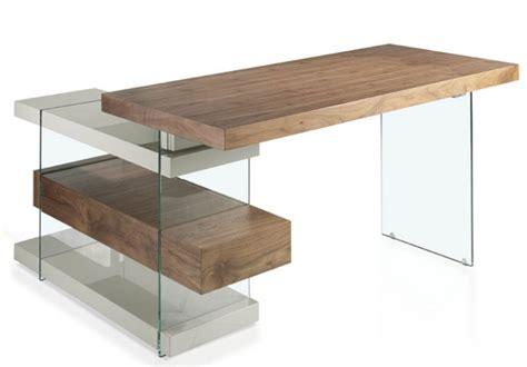 le bureau bois bureau d 39 angle contemporain bois plaqué noyer et verre