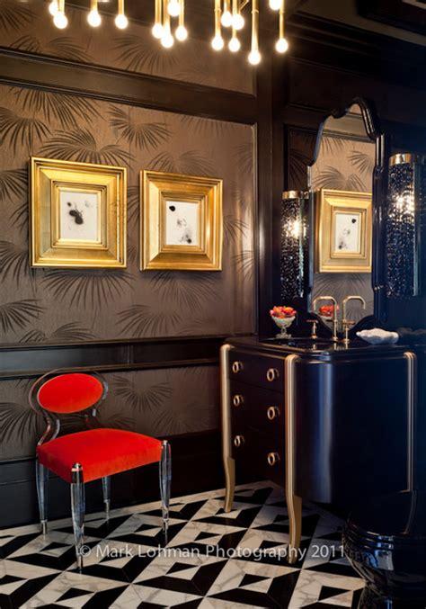 Hollywood Regency Powder Bathroom - Modern - Powder Room