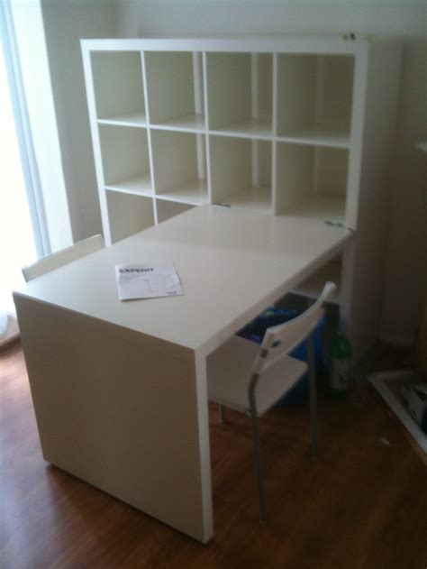 office desk with bookcase and shelving workspace cool home office with ikea expedit desk for