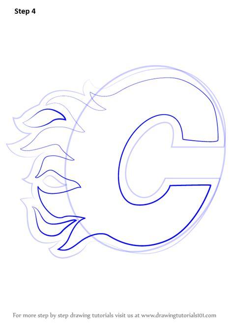 learn   draw calgary flames logo nhl step  step