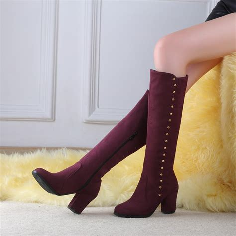 Big Size Thick Heel Women Boots Shoes Autumn