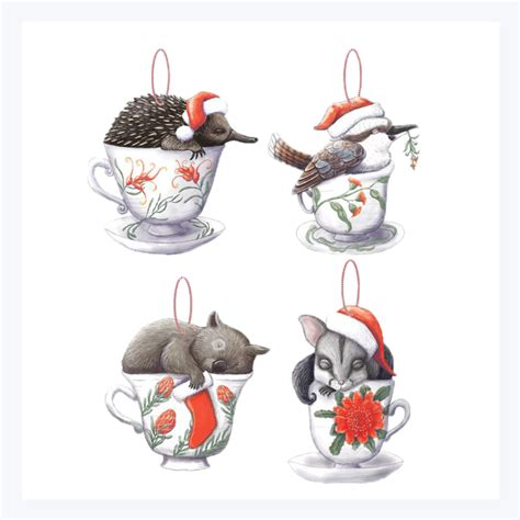 aussie animals   teacup christmas decorations