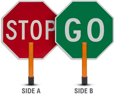12 quot and quot held stop go sign paddle y1263 by safetysign com
