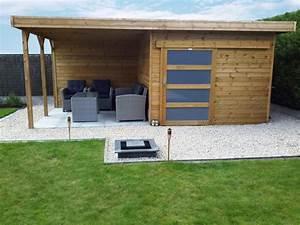 abri de jardin toit plat avec porte coulissante et With amenagement exterieur maison contemporaine 10 gazebo et abri soleil des idees pour jardin avec piscine