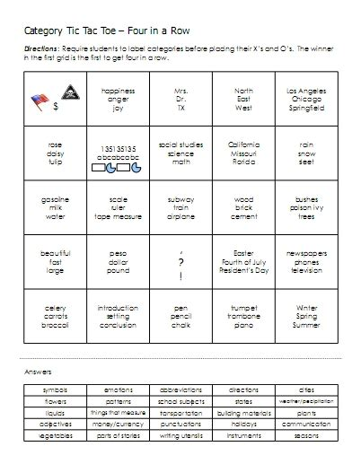 categories word lists activities worksheets and more free language stuff