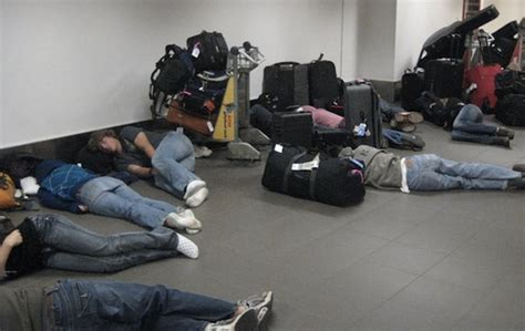 relate   people sleeping   airport