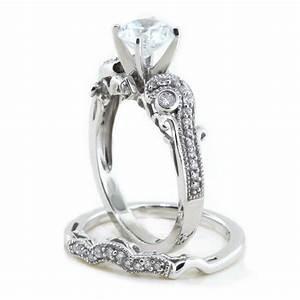 Moissanite wedding set engagement ring and wedding band for Moissanite wedding ring set