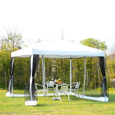 outdoor ez pop  wedding party tent patio gazebo canopy mesh white wbag  ebay