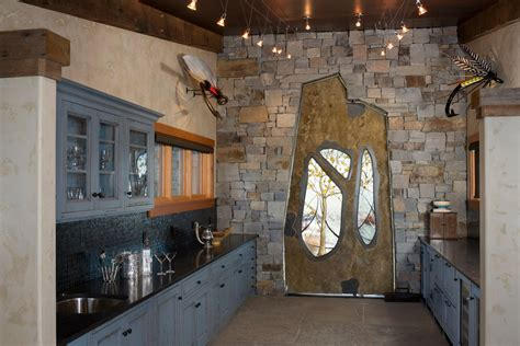 Kitchen Backsplash Ideas For Dark Cabinets - rustic home bars home bar rustic with ranch home stained wood animal head