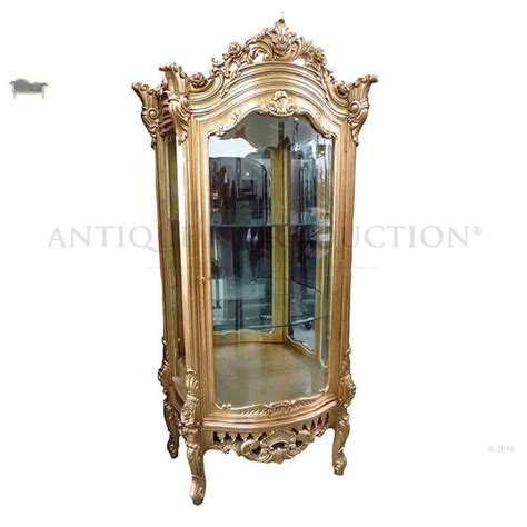 french louis rose carved antique gold display cabinet