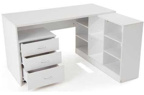 bureau blanc et bois bureau en imitation bois blanc avec retour trend design en