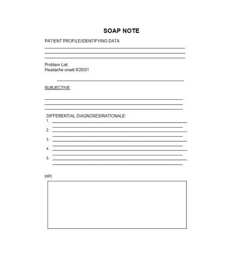 Soap Note Template 40 Fantastic Soap Note Exles Templates Template Lab