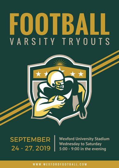 green  gold american football poster templates  canva