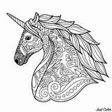 Unicorn Coloring Head Simple Unicorns Adult sketch template