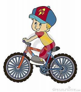 Cartoon Kid Riding Bicycle Stock Illustration - Image ...
