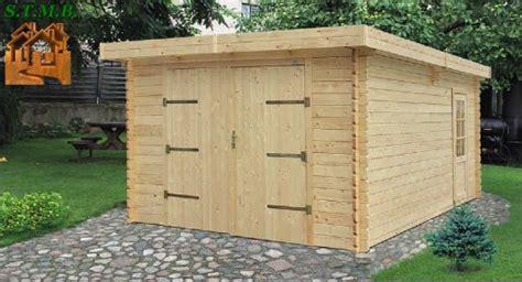 garage en bois toit plat stmb construction chalets bois