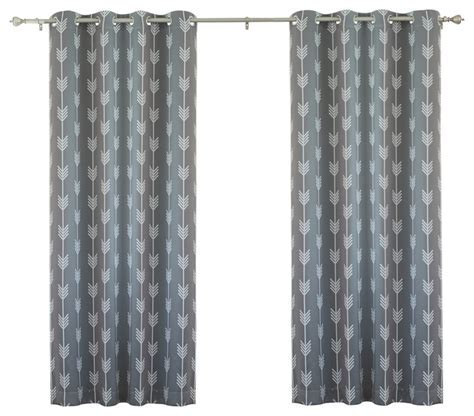 "Arrow Print Room Darkening Grommet Top Curtain 84""L   1"