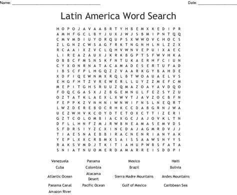 world geography Word Search - WordMint
