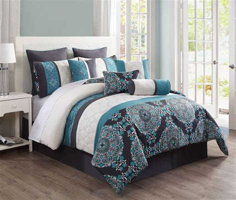 piece justine charcoal  teal reversible bed   bag