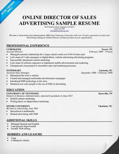 Ad Sales Manager Resume by 17 Best Images About Business On Project