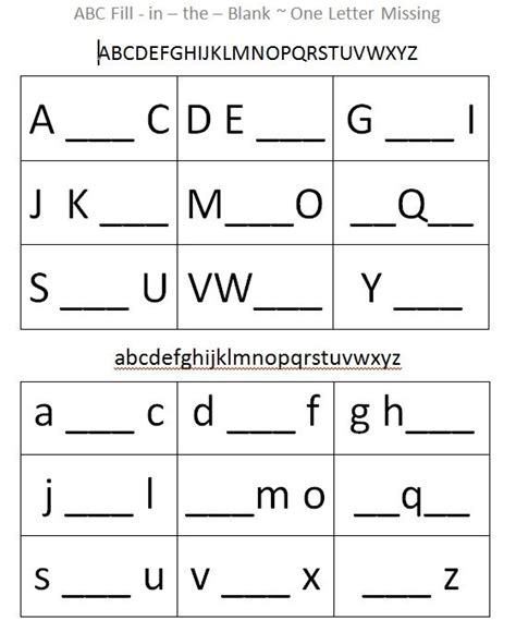 this alphabet fill in the blank sheet supports cognitive