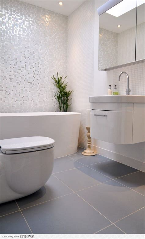 Modern Bathroom Mosaic Ideas by Master Bathroom Shimmer Mosaic Tile White And Grey