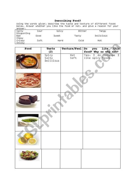 describing food esl worksheet  qtiebebe