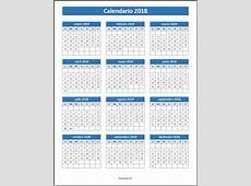 Calendario 2018 para imprimir y editar descarga formatos