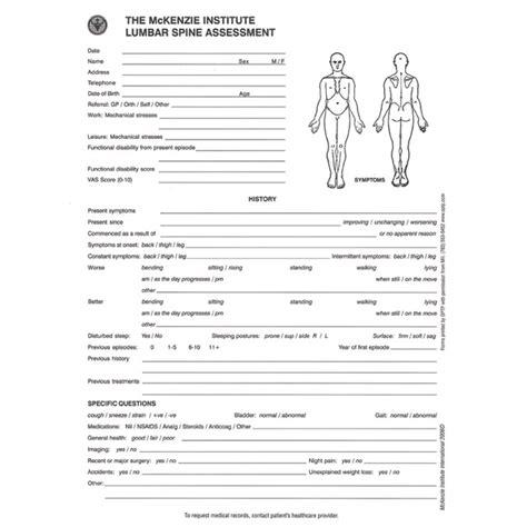 assessment forms lumbar spine assessment discounted optp