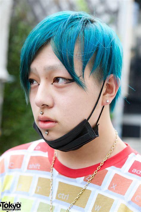 harajuku guys  blue hair jeremy scott long clothing