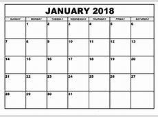2018 Calendar Template Pdf printable year calendar