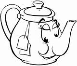 Teapot Coloring Tea Pot Face Cup Meals Printable Smiling Drawing Drinks Clipart Teacup Template Line Kettle Cartoon Clip Vinyl Sheet sketch template