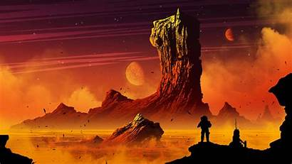 Space Landscape Digital Science Fiction Fantasy Orange