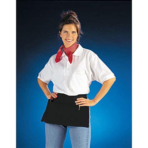 veste de cuisine noir tablier court avec poches pour restaurant bar café