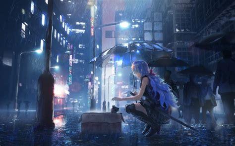 desktop wallpaper city street rain night anime girl hd