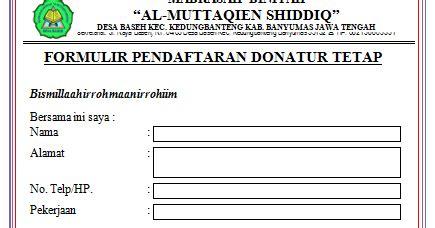 contoh surat permohonan donatur tetap