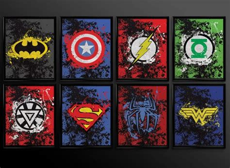 printable 8 different images 11x14 8x10 superhero wall