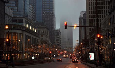 street cars fog rain city wallpaper
