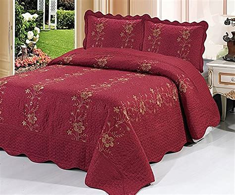 Floral Quilts And Coverlets by Burgundy 3 Quilted Bedspread Burgundy Quilt