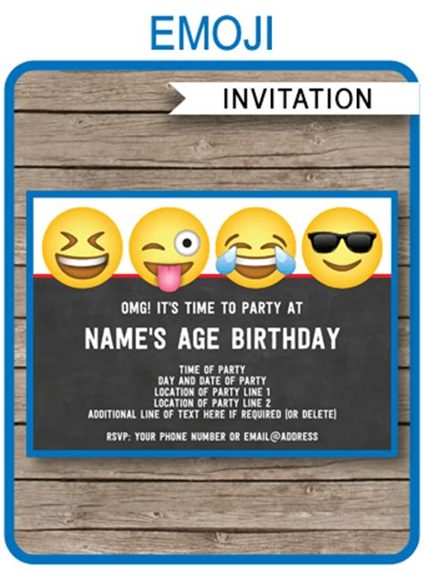 emoji theme party invitations template printable boys