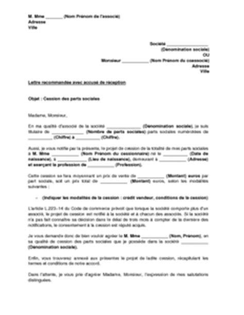 modele lettre cession parts sociales banque modele document projet