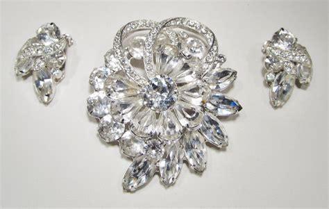 eisenberg rhinestone brooch earrings set wc